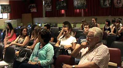 Algunos de los participantes. Fotografía sacada de un vídeo realizado por Luis Ángel Delgado, Jefe de Estudios del IES Batalla de Clavijo de Logroño.