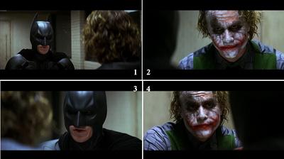 Ejemplo de contracampo durante el interrogatorio del Jóker en El caballero oscuro (2008) de Christopher Nolan.